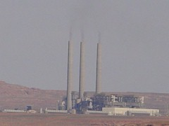 The Navajo Generating Station burns coal, mined at Black Mesa, on the Navajo Reservation - Click for smoke-free view of nearby Lake Powell (http://jamesmcgillis.com)