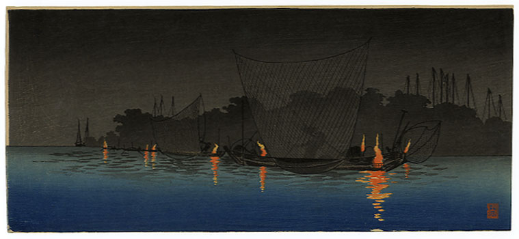 Night fishing scene, from a Japanese painting - Click for larger image (http://jamesmcgillis.com)