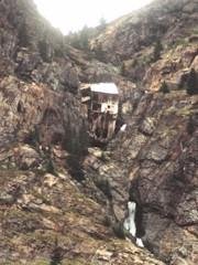 Clinging precariously to the wall of the Upper Animas River Canyon, an early twentieth century silver mine offered a nostalgic view in 1965 of what must have been a dangerous profession in its day - Click for larger image (https://jamesmcgillis.com)