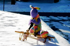 Plush Kokopelli enjoys warm spring sunshine at Mammoth Lakes, California in 2013 - Click for larger image (http://jamesmcgillis.com)