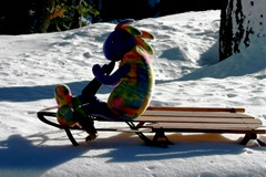 Plush Kokopelli sledding near Mammoth Lakes in 2013 - Click for larger image (http://jamesmcgillis.com)
