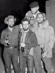 Left to right, Ralph Newcomb, Jim (Jimbo Forrest), Edward Abbey, with Malcolm Brown above, ca. 1956 - Click for larger image (http://jamesmcgillis.com)