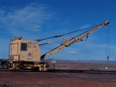 Union Pacific Railroad Burro Crane BC-47 stands on a siding at Seven Mile, near Moab, Utah - Click for larger image (https://jamesmcgillis.com)