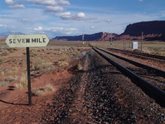 View of the Potash Branch line of the Union Pacific Railroad, looking from Seven Mile toward Moab, Utah - Click for larger image (http://jamesmcgillis.com)