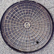 Alhambra Foundry manhole cover in Simi Valley, California - Click for larger image (https://jamesmcgillis.com)