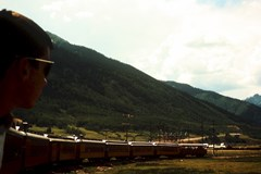 Departing Silverton Station in 1965, the author (Jim McGillis) watches as the train backs on to a wye track before changing directions and  then heading down-canyon toward Durango - Click for larger image (https://jamesmcgillis.com)