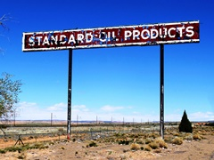 "The pole sign at the former Cow Springs Trading Post boasts ""Standard Oil Products"" - Click for larger image (http://jamesmcgillis.com)"