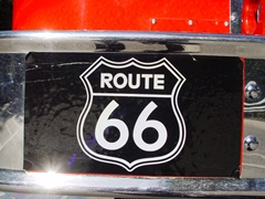 The ultimate Route 66 vehicle - Route 66 logo sticker on the LACoFD tillered ladder quint - Truck 8 - at the Hollywood Bowl, Los Angeles, California - Click for larger image (http://jamesmcgillis.com)
