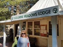 Spokesmodel Carrie McCoy at Tuolumne Meadows Lodge in summer 2016. Click for a similar view in late June 2017 (http://jamesmcgillis.com)