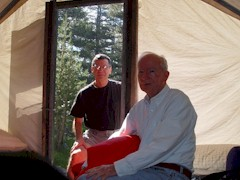 The author, Jim McGillis and his father, Duke McGillis in a tent cabin at Tuolumne Meadows Lodge in summer 2004 - Click for larger image (http://jamesmcgillis.com)