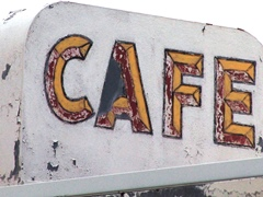"Hand painted ""Cafe"" sign deteriorates at the old Twin Arrows Trading Post, Interstate I-40 east of Winona, Arizona - Click for larger image (http://jamesmcgillis.com)"