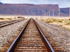 "Union Pacific Railroad ""Central Corridor"" rail line looking east from Brendel toward the Book Cliffs - Click for larger image (http://jamesmcgillis.com)"