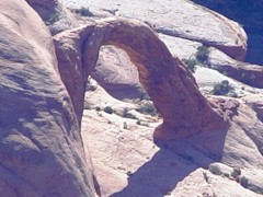 Unlike Parcel 32 and all of the Uintah County parcels included in the Utah Recreational Land Exchange, this aerial view shows Corona Arch, which would be protected by the URLEA - Click for larger image (https://jamesmcgillis.com)