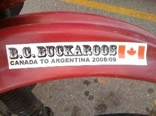 "BC Buckaroos ""Canada to Argentina 2008-2009"" logo sticker on the fender of a Kawasaki KLR 650 motorcycle - Click for larger image (http://jamesmcgillis.com)"