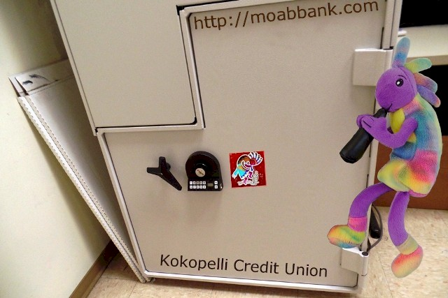 James mcgillis teacher writer photographer at kokopelli federal credit union plush kokopelli shows off the safe on the new diebold asfbconference2016 Choice Image