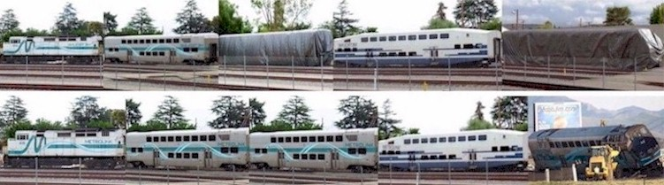 Two separate photographic reconstructions show the mismatch of the Hyundai-Rotem cab car with the obsolete Bombardier bi-level coach to which it was coupled during the February 2015 Metrolink Oxnard collision - Click for larger image (http://jamesmcgillis.com)