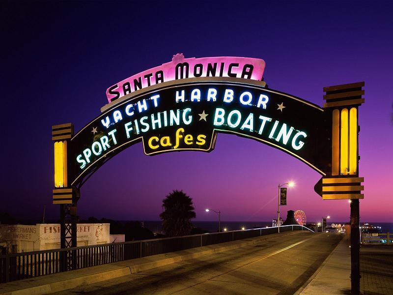 Santa Monica Pier overhead sign at dusk - Click for larger image https://jamesmcgillis.com)