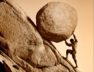 """Photograph or artwork? The Myth of Sisyphus, who some call """"The Original Rolling Stone"""" makes the task of rolling a boulder up a 45-degree slope look almost easy - Click for larger image (https://jamesmcgillis.com)"""