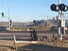 A Harley Davidson Motorcycle stands after a collision with a Metrolink Train at Las Posas Road and Fifth St. in Oxnard, California in April 2016 - Click for larger image (http://jamesmcgillis.com)